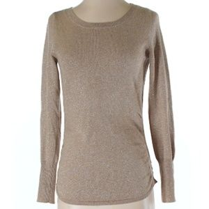 Banana Republic Gold Shimmer Ruched Sweater Size S